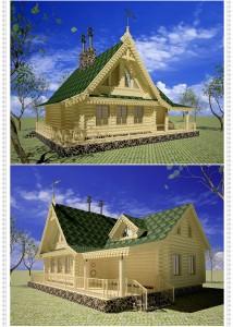дом бревенчатый, 3d