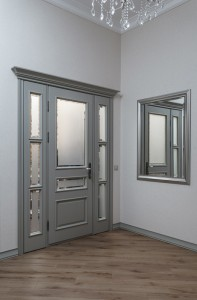 Grey wood doors at the interior