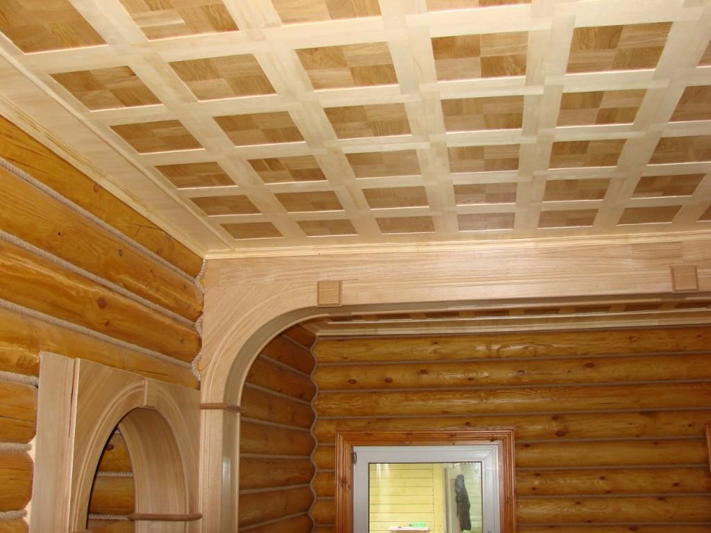 потолок из массива дерева3
