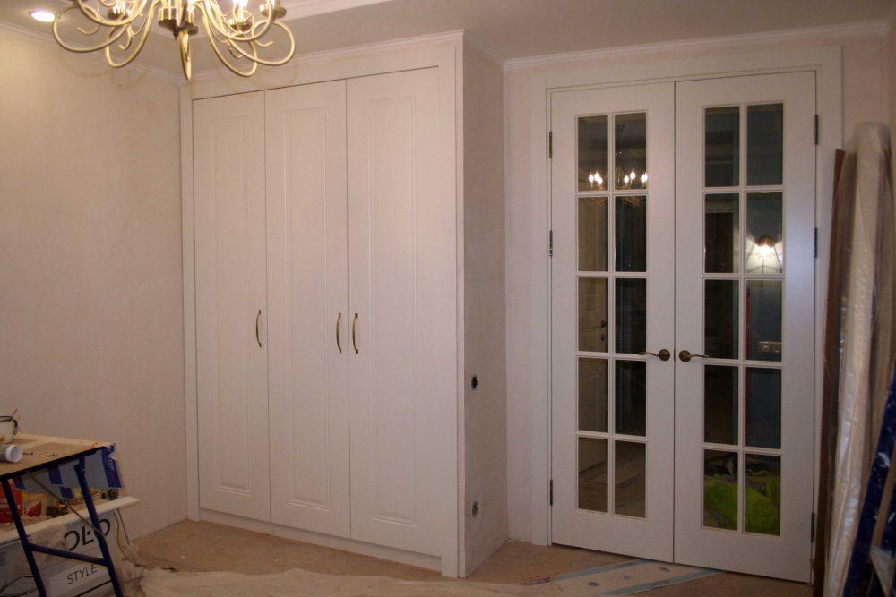 двери в зал двойные со стеклом и белый шкаф с фасадами эмаль
