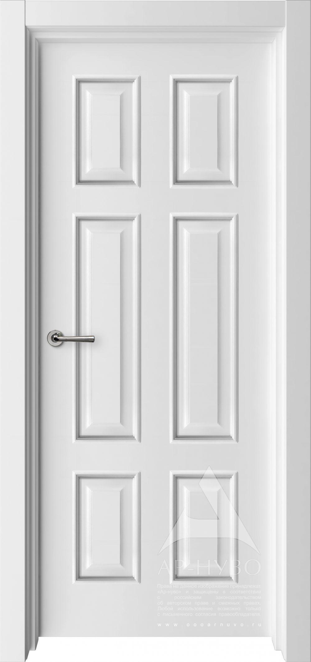 белая дверь с багетом 6 филенок