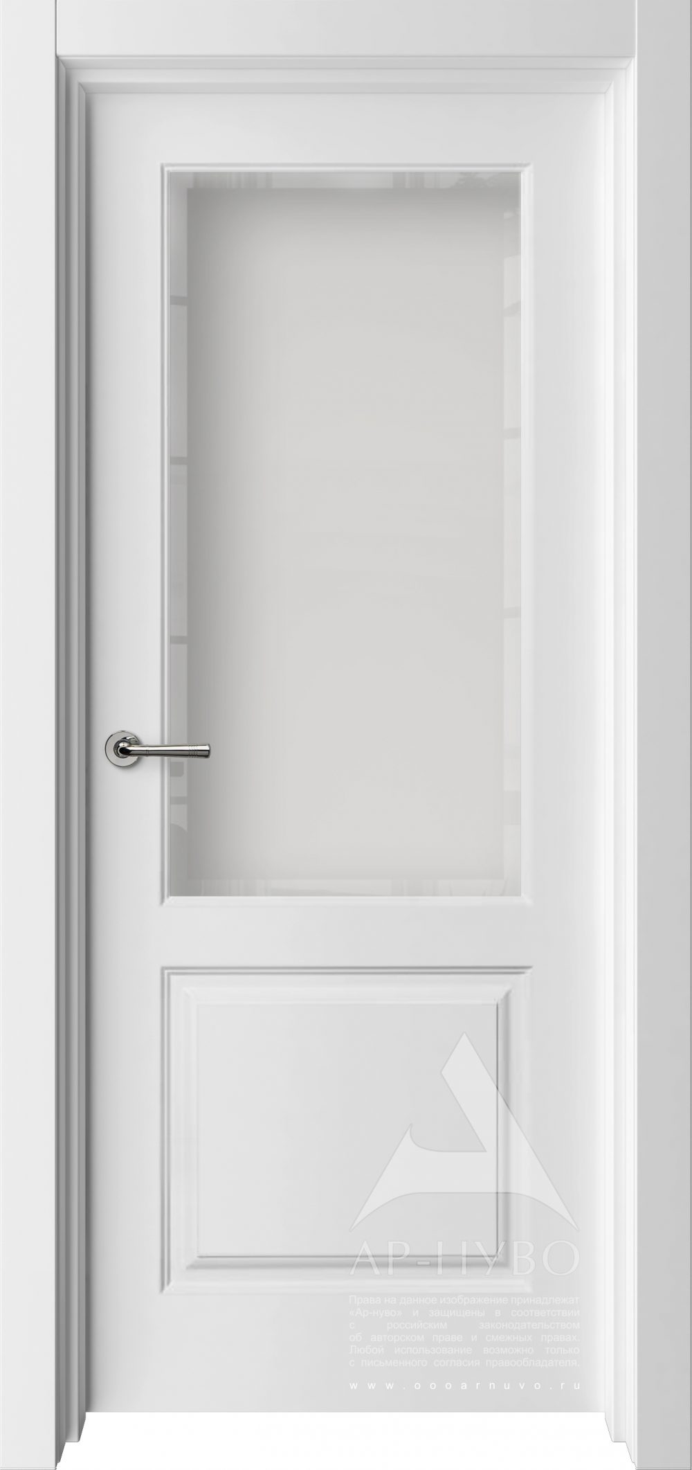 классическая белая межкомнатная дверь со стеклом сатинат