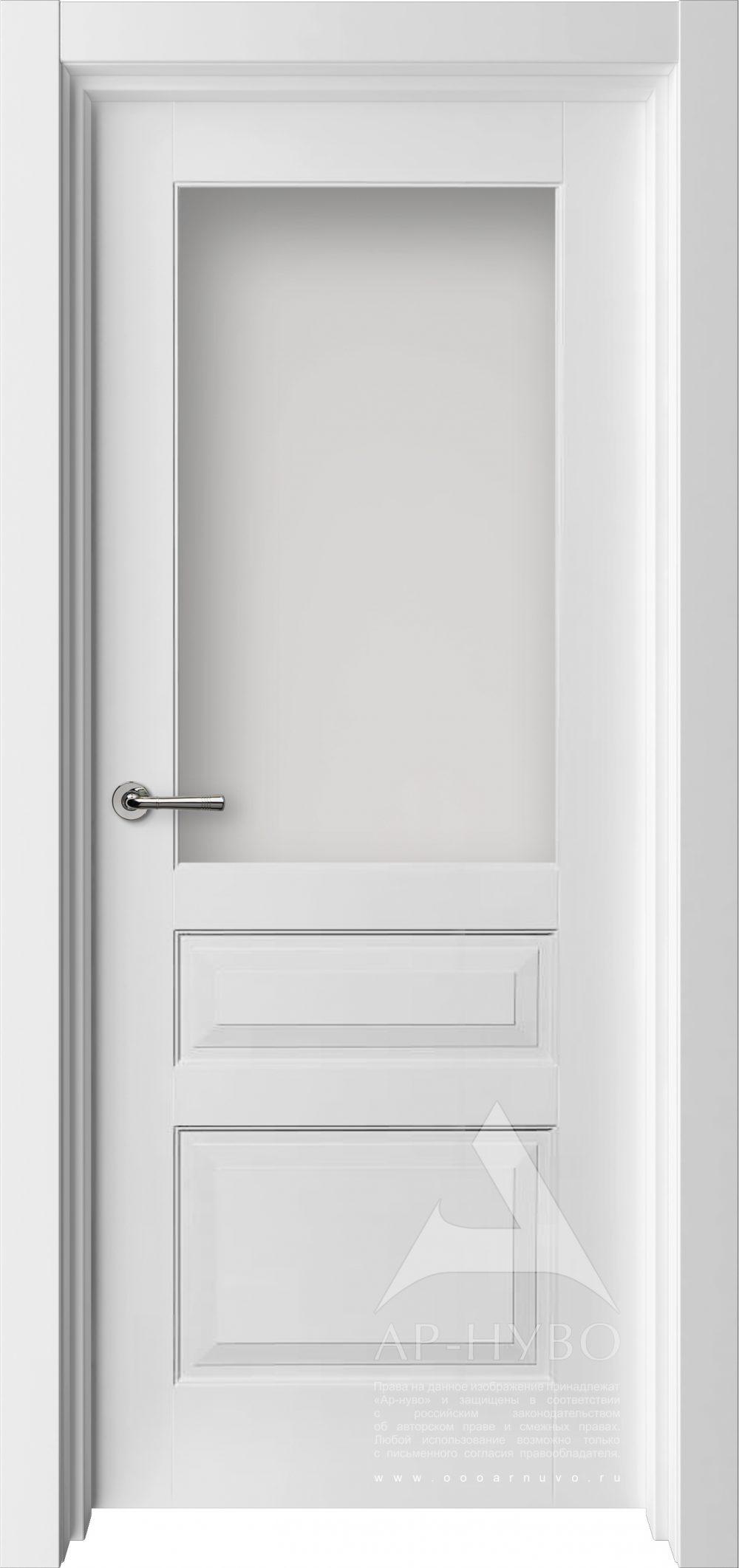 белая межкомнатная дверь со стеклом непрозрачным