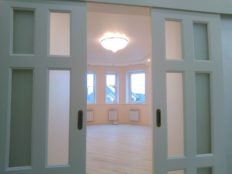 дверь двойная раздвижная в зал фото