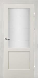 белая межкомнатная дверь из массива со стеклом