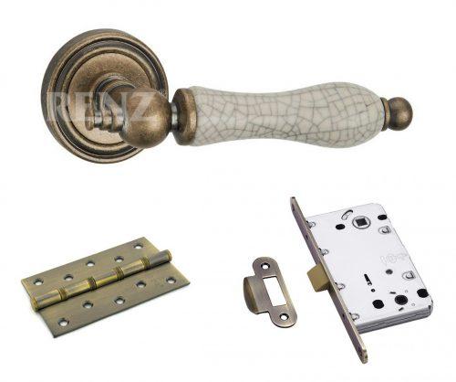комплект фурнитуры для двери с ручкой Ренц керамика