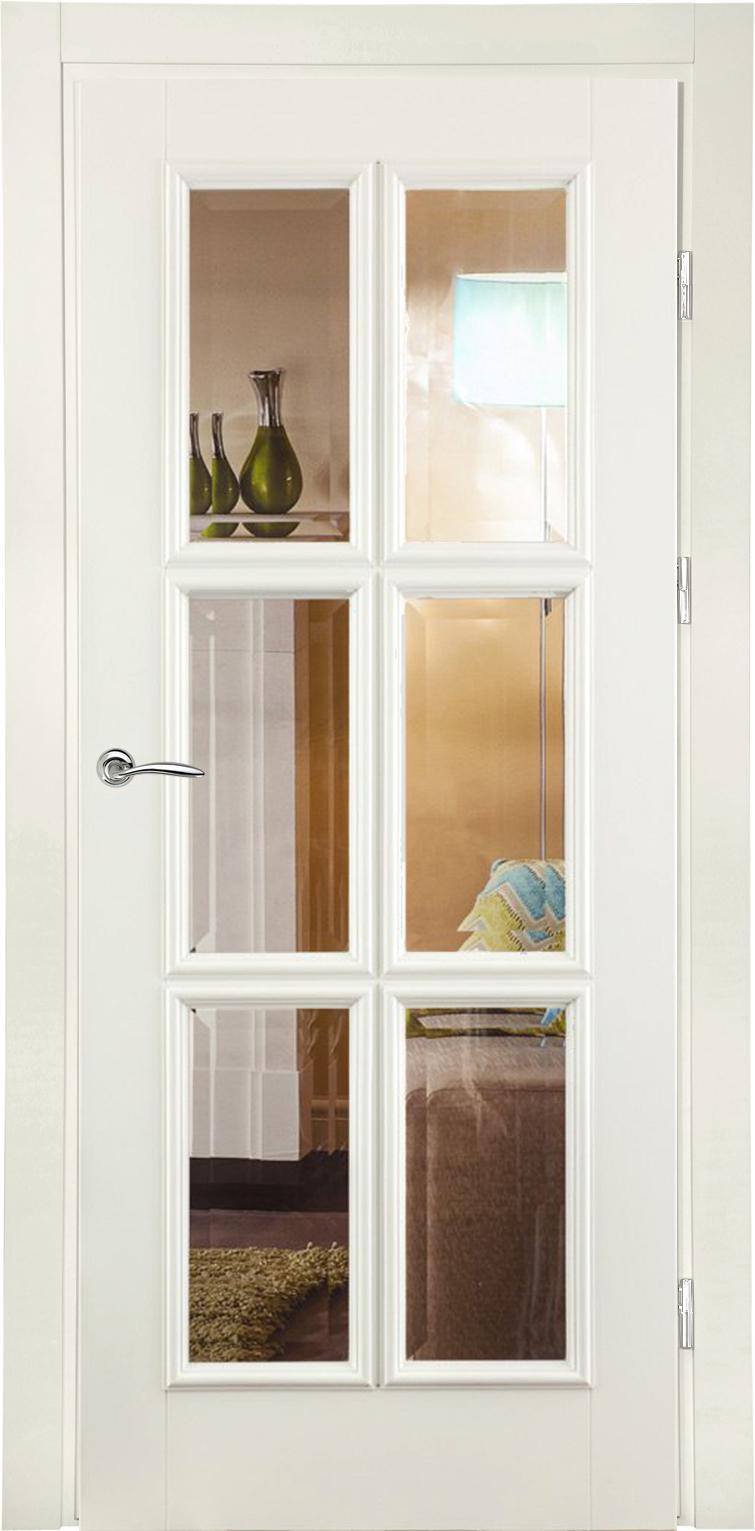 классическая белая дверь из массива с фацетом