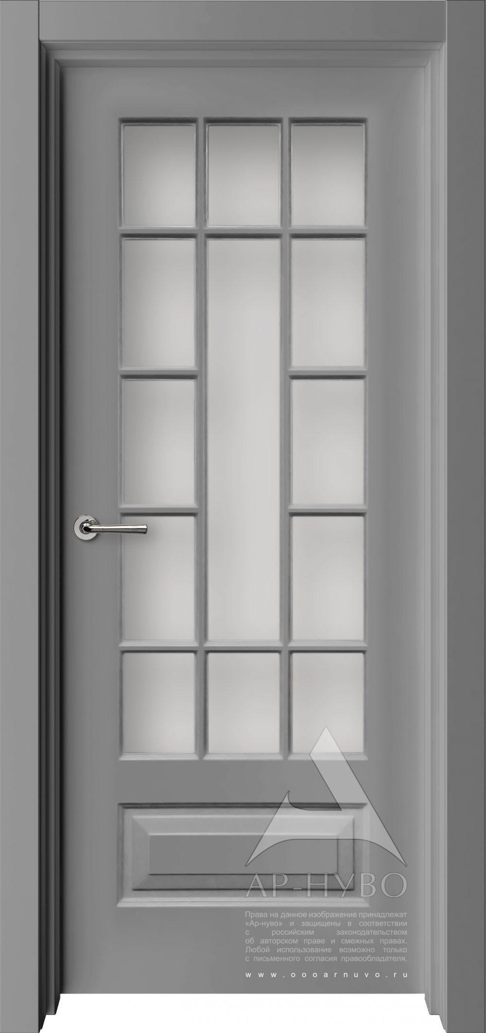 серая межкомнатная дверь со стеклом