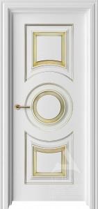 белая межкомнатная дверь с кругом и патиной золото