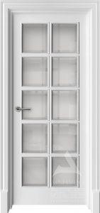 французская межкомнатная белая дверь с багетом и фацетом