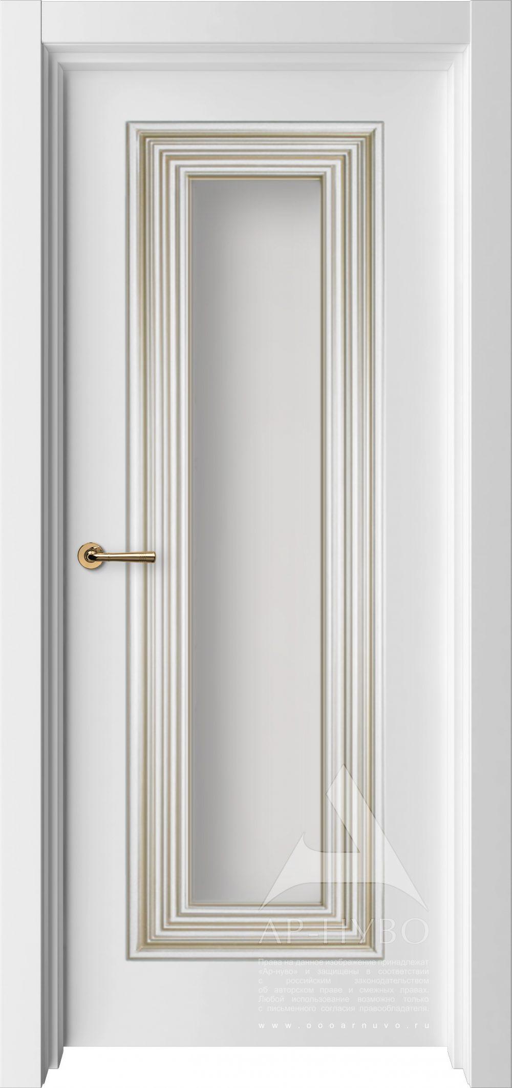 белая межкомнатная дверь с багетом и со стеклом