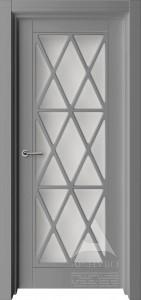 серая межкомнатная дверь с решеткой прованс