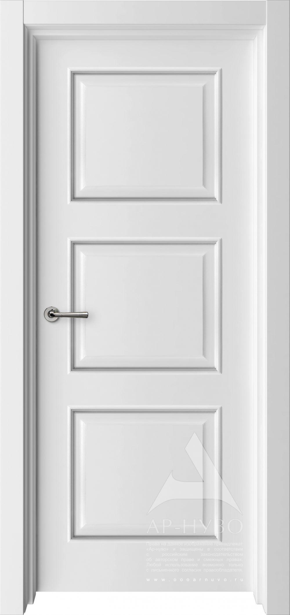 белая межкомнатная дверь модель Трио с багетом