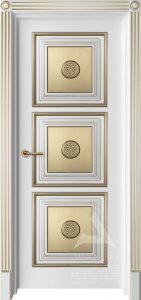 классическая межкомнатная дверь с патиной золото и декором