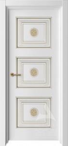 белая межкомнатная дверь модель трио с багетом и патиной