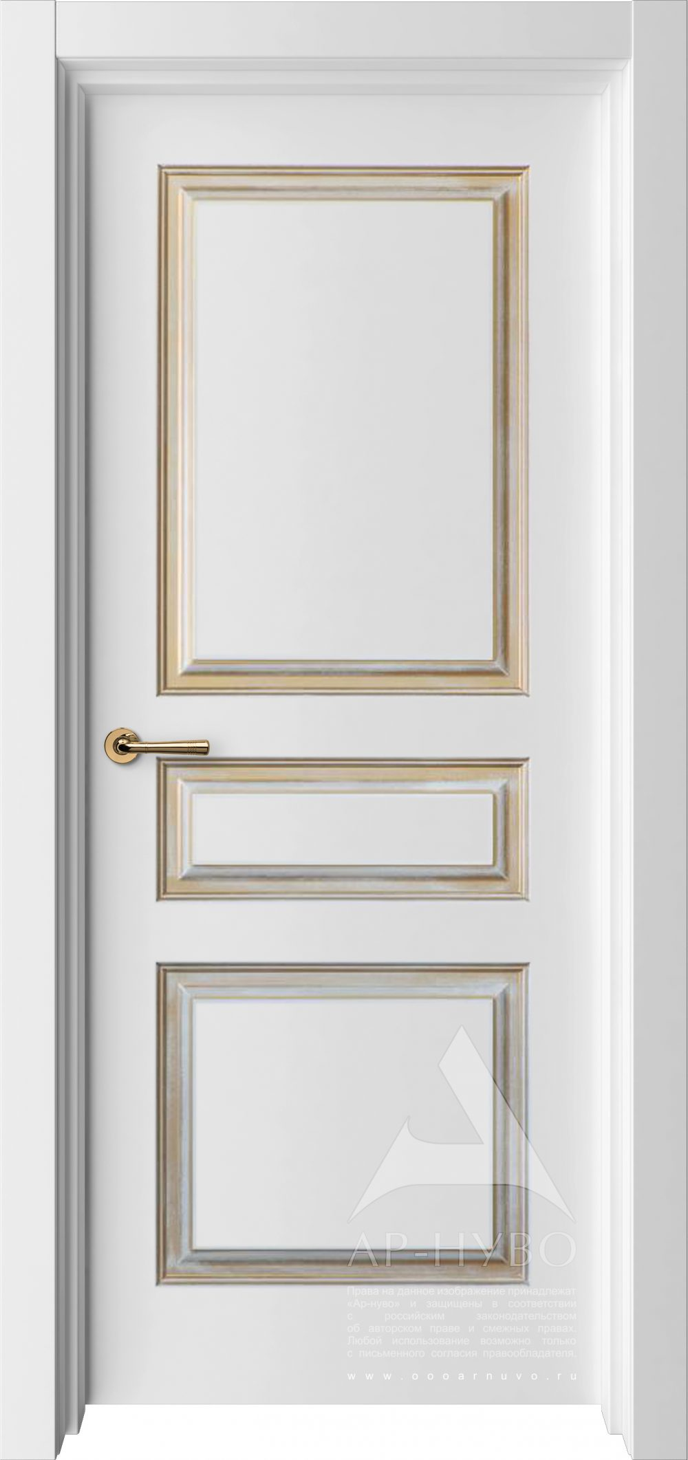 белая дверь Турин с патиной золото №3