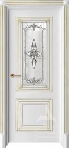 межкомнатная дверь с витражем и патиной